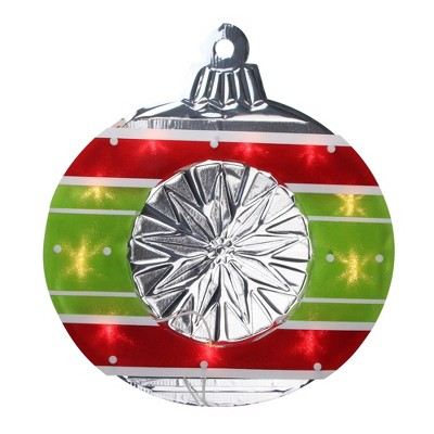 "Impact Innovations 15.5"" Lighted Red and Green Shimmering Ornament Christmas Window Silhouette Decoration"