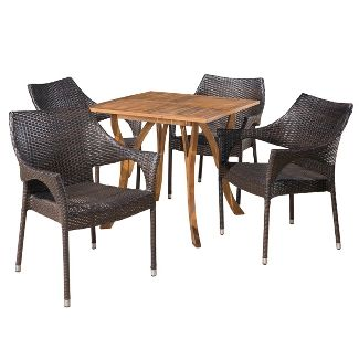 Carroll 5pc Acacia and Wicker Dining Set - Teak/Brown - Christopher Knight Home