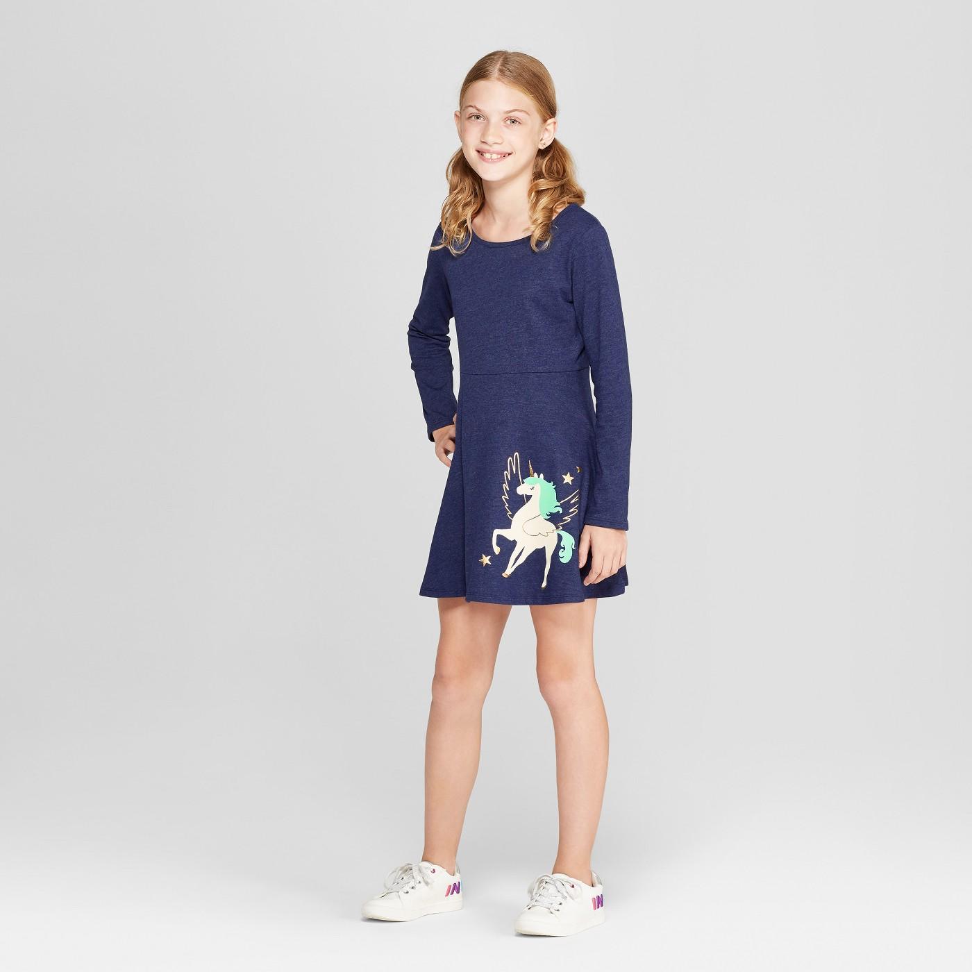 Girls' Long Sleeve Dress - Cat & Jack™ Navy - image 1 of 3