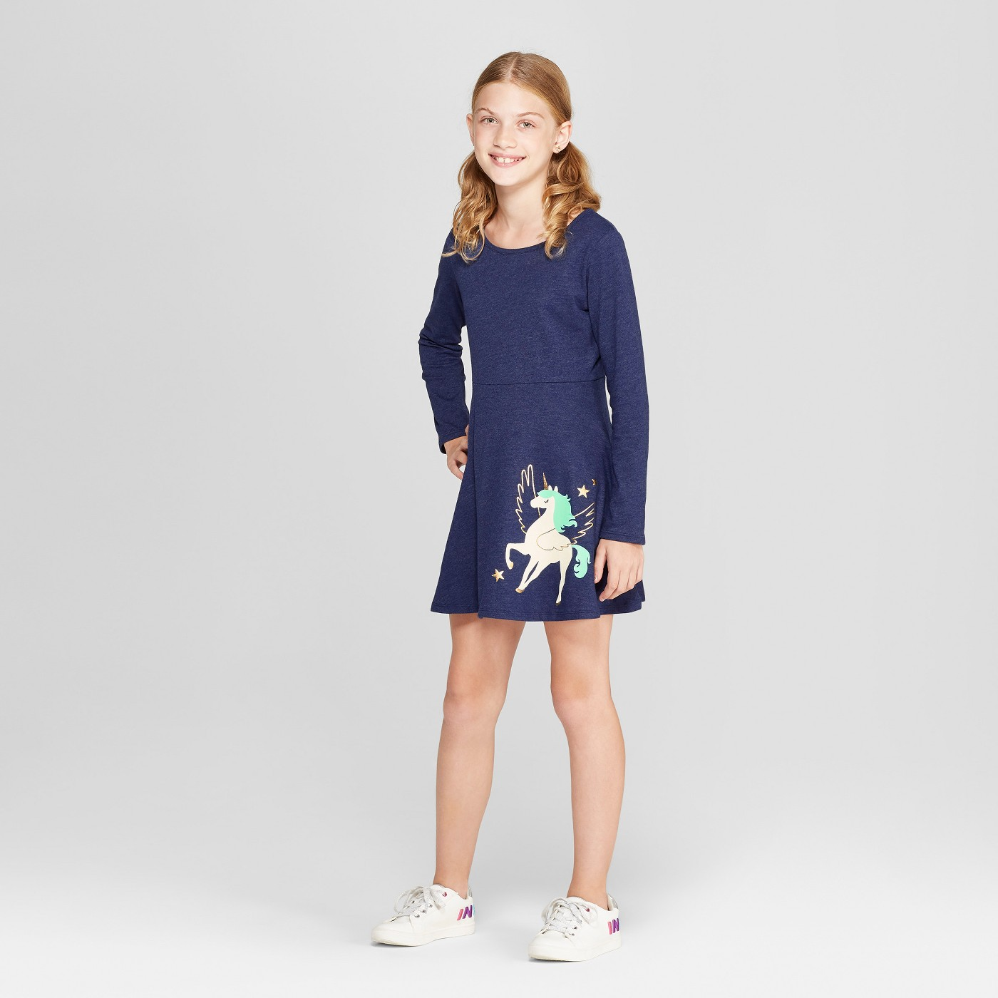 Girls' Long Sleeve Dress - Cat & Jack™ Navy - image 1 of 3