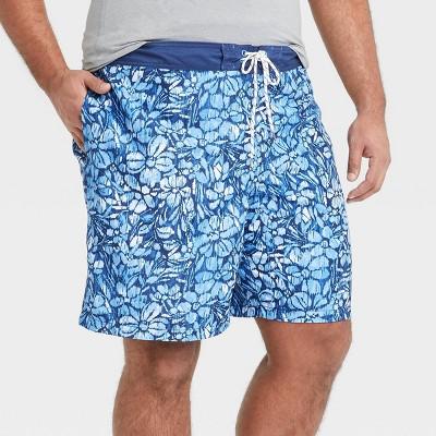 "Men's Big & Tall 9"" Floral Print Board Shorts - Goodfellow & Co™ Light Blue"