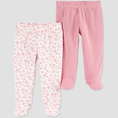 Baby Girls' 2pk Floral Pull-On Pants - Just One You® made by carter's Pink Newborn