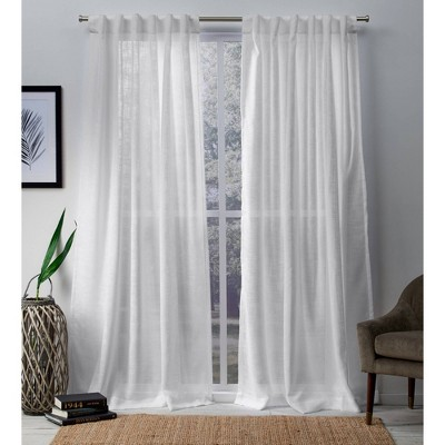 "Set of 2 96""x54"" Bella Hidden Tab Top Window Sheer Curtain Panel White - Exclusive Home"