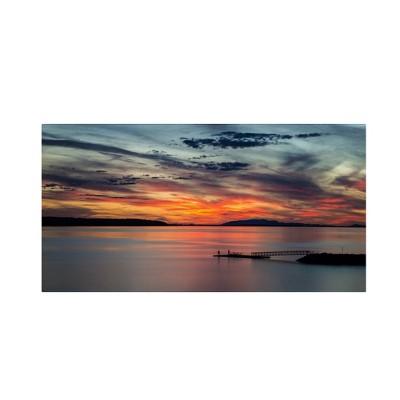 "16"" x 32"" Sunset Pier by Pierre Leclerc - Trademark Fine Art"