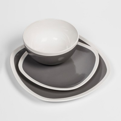 Soft Square Stoneware 12pc Dinnerware Set Gray - Threshold™