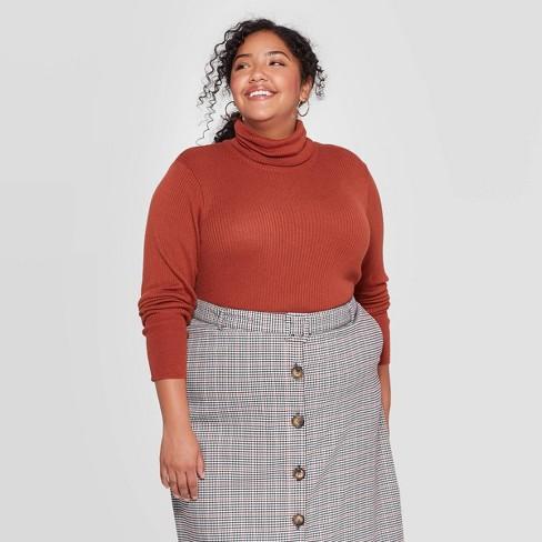 Women's Plus Size Ribbed Long Sleeve Ribbed Turtleneck Sweater - Ava & Viv™ - image 1 of 2