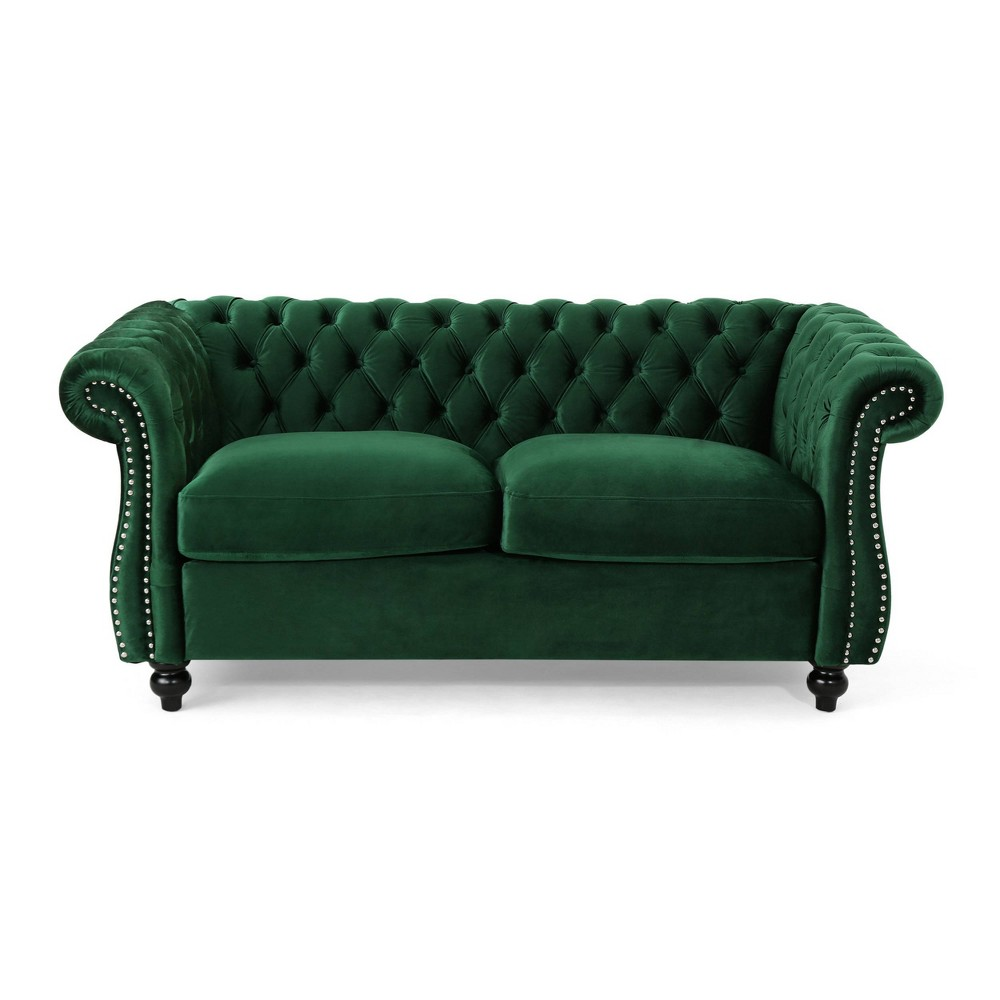 Somerville Traditional Chesterfield Loveseat Green Christopher Knight Home