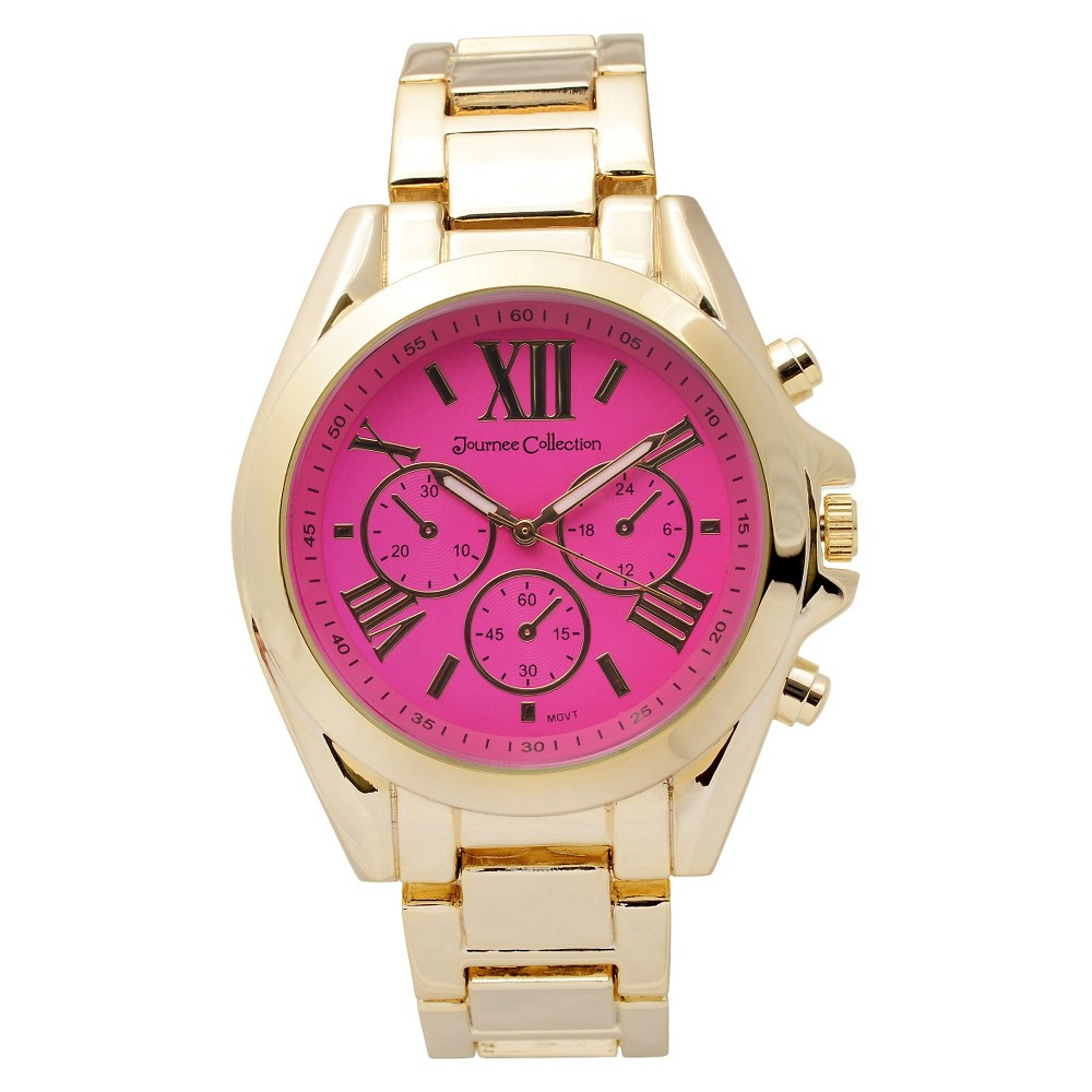 Women's Journee Collection Round Face Sleek Stainless Steel Link Watch - Pink