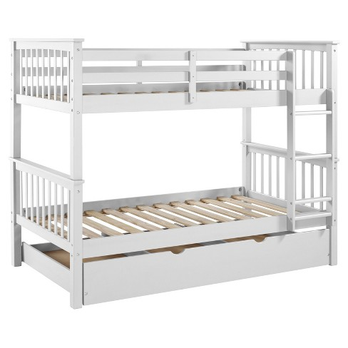 Solid Wood Twin Bunk Bed With Trundle Bed White Target