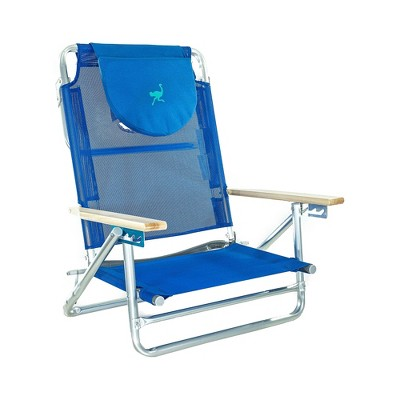 Ostrich SBSC-1016B Lightweight South Adult Beach Outdoor Lake Sand Lounging Chair, Blue and White Stripes