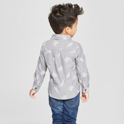 2f0150ca Toddler Boys' Long Sleeve Button-Down Shirt with Dino - Cat & Jack™ Gray
