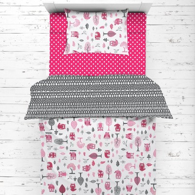 Bacati - Owls in the Woods Pink Fuschia Gray 4 pc Toddler Bedding Set