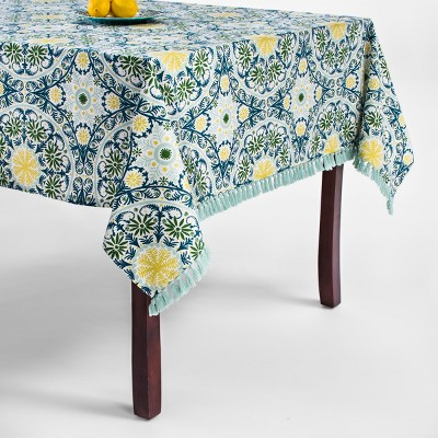 Green/Blue Medallion Fringed Tablecloth 60 x84  - Opalhouse™