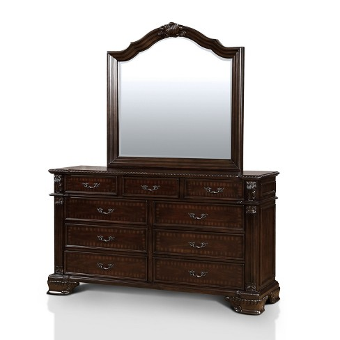 Alvaro Traditional Antique Inspired Dresser And Mirror Set Brown Cherry Sun Pine