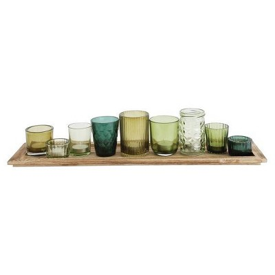 Glass & Wood Candle Gift Set Green 22 in - 3R Studios