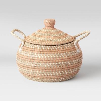 "14"" x 14"" Round Lidded Basket with Handles Striped Orange - Opalhouse™"