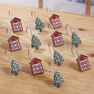 Lakeside Christmas Shower Curtain Hooks with Decorative Trees and Barns - Set of 12