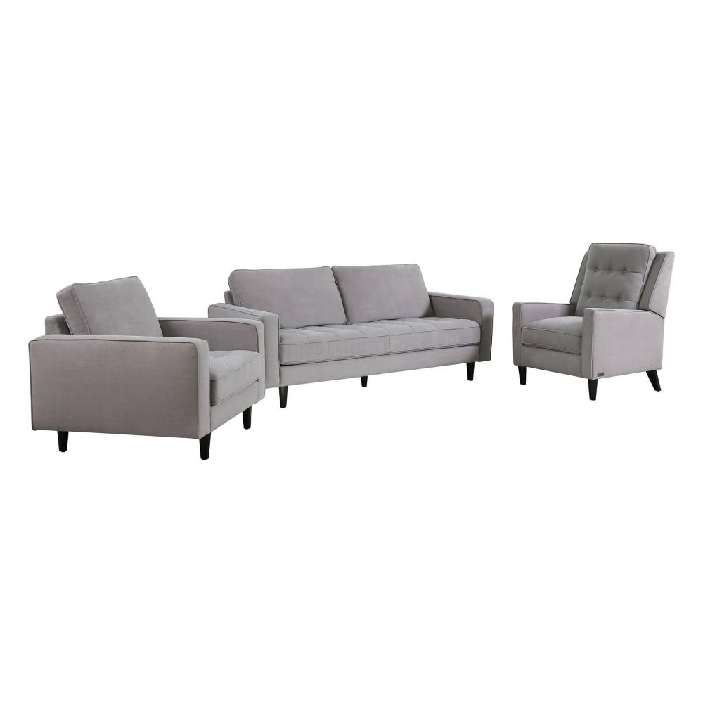 Image of 3pc Axel Mid Century Tufted Fabric Sofa Set Gray - Abbyson Living