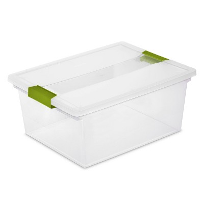 Sterilite Deep Clip Box Clear with Green Latches