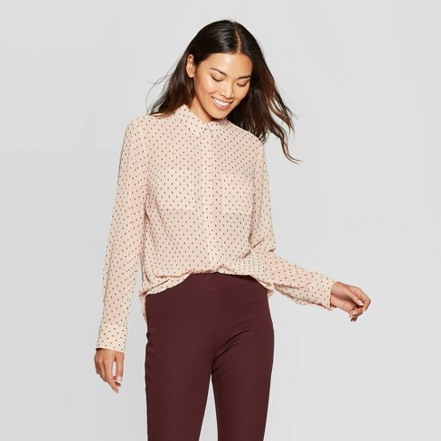 Women's Jacquard Relaxed Fit Long Sleeve Collared Button-Down Shirt - A New Day™ Light Pink - image 1 of 3