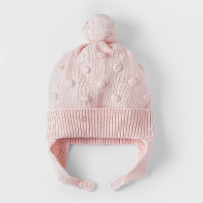 Baby Girls' Bobble Hat - Cat & Jack™ Pink 0-6M