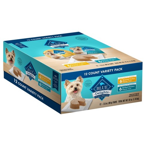 Blue Buffalo Delights Grain Free Paté Small Breed Wet Dog Food Roasted Turkey & Grilled Chicken Flavors - 3.5oz/12ct Variety Pack - image 1 of 4