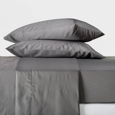 King 300 Thread Count Temperature Regulating Solid Sheet Set Dark Gray - Casaluna™