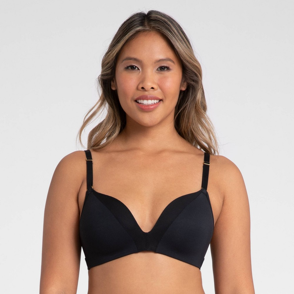 All You Lively Women 39 S All Day Deep V No Wire Bra Jet Black 36d