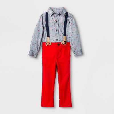 Toddler Boys' Valentine's Day Suspender Woven Top & Bottom Set - Cat & Jack™ Gray/Red