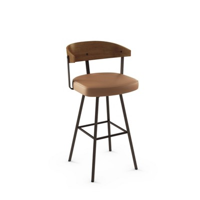 Quinton Swivel Counter Height Barstool Caramel Faux Leather/Brown Wood - Amisco