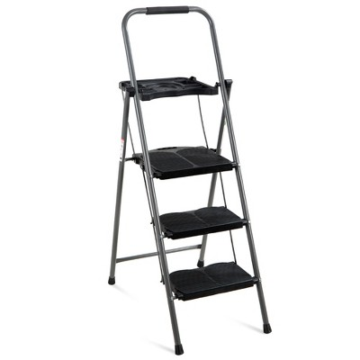 Best Choice Products 3-Step Portable Folding Anti-Slip Steel Ladder w/ Hand Grip, Utility Tray, 330lb Capacity