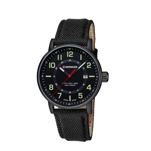 Men's Wenger Attitude Outdoor - Swiss Made - Black PVD Case Nylon Strap watch - Black - image 1 of 1