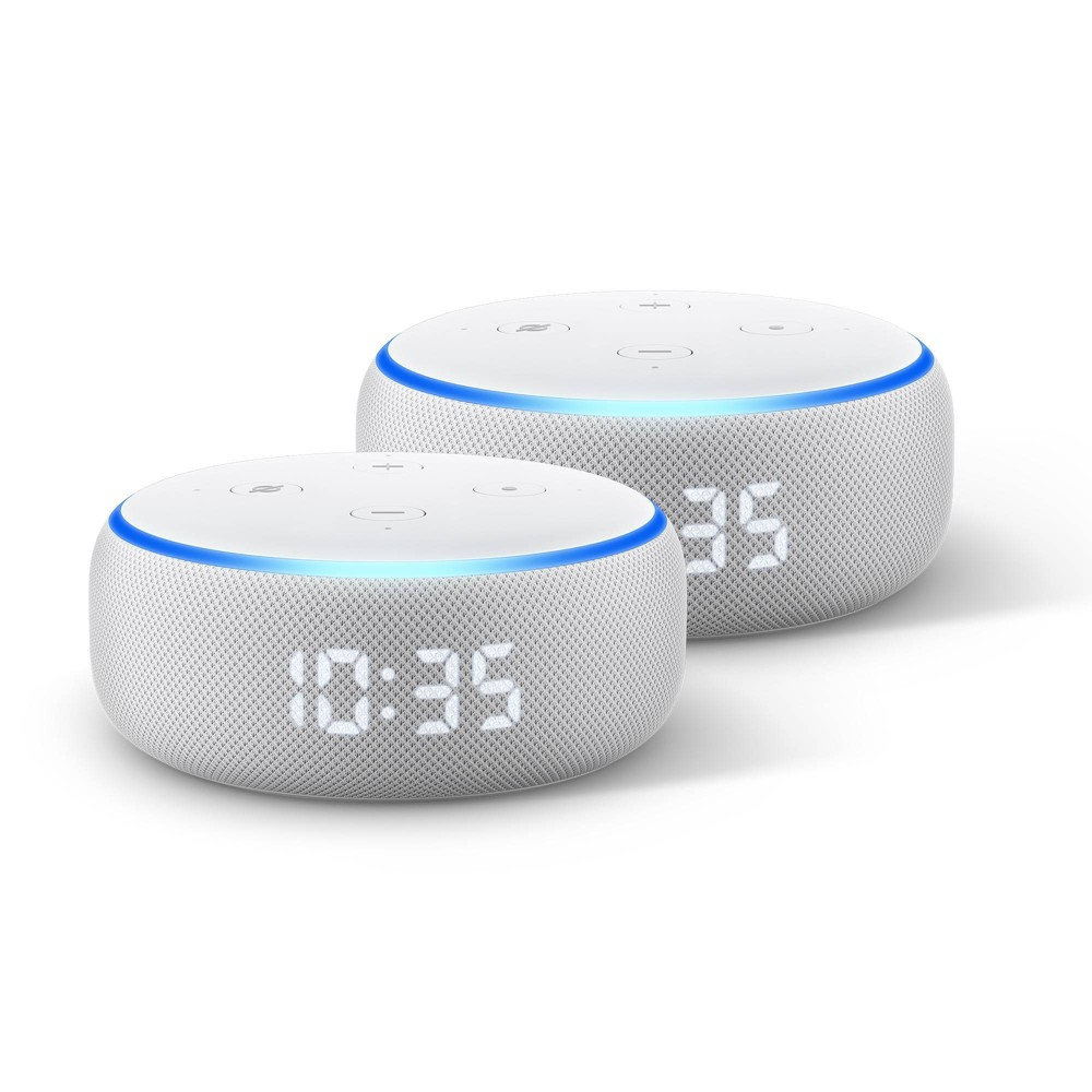 Amazon Echo Dot 3rd Gen With Clock 2 Pack
