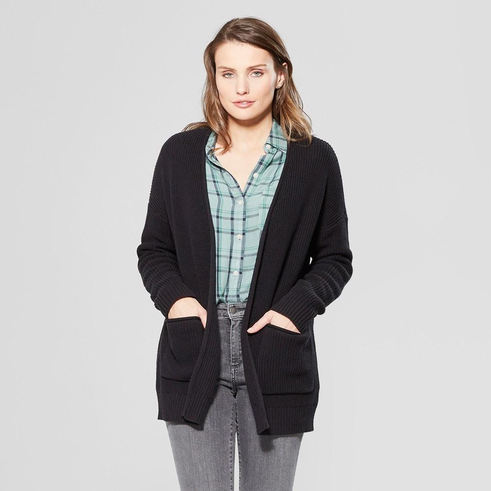 Women's Long Sleeve Cardigan Open Layering - Universal Thread Black XS