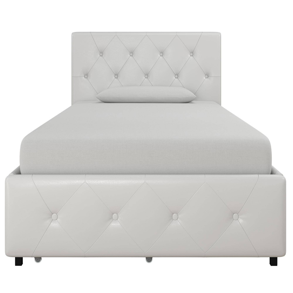 Twin Dalia Faux Leather Upholstered Bed With Storage White - Room & Joy
