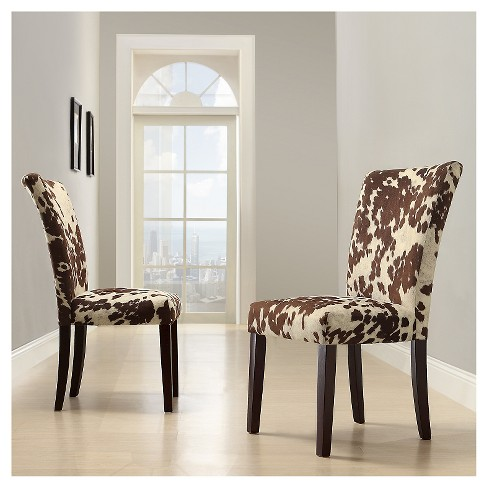 Quinby Parson Dining Chair Wood Brown Cowhide Set Target