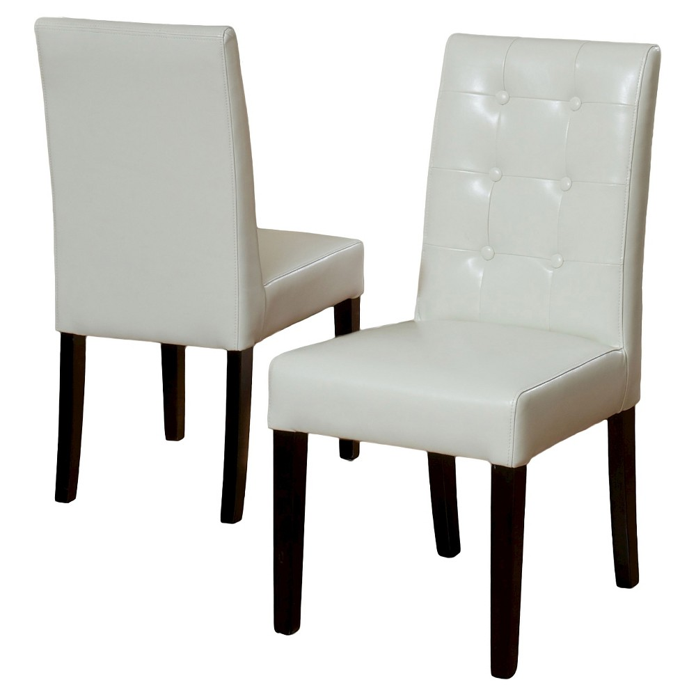 Roland Ivory Leather Dining Chairs - Ivory (Set of 2) - Christopher Knight Home
