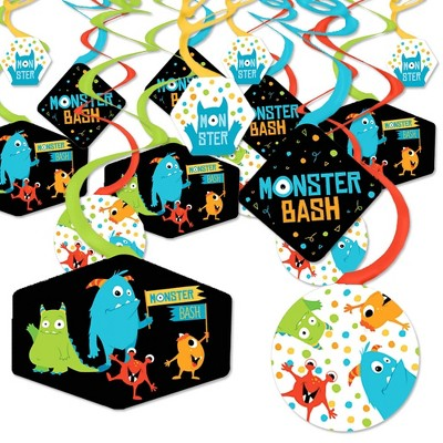 Big Dot of Happiness Monster Bash - Little Monster Birthday Party or Baby Shower Hanging Decor - Party Decoration Swirls - Set of 40