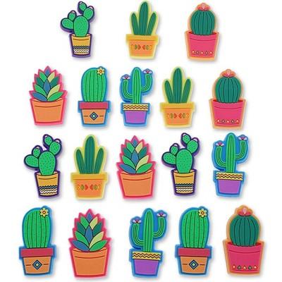 18-Pack Decorative Cactus Push Pin Thumb Tack, 6 Designs, 0.8 x 1.4 inches