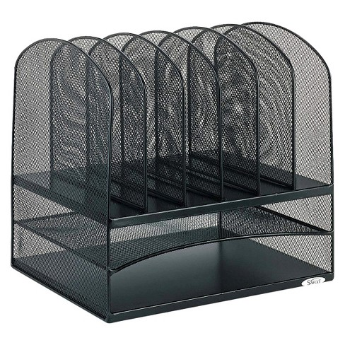 Safco Steel Mesh Desk Organizer With Eight Sections Black