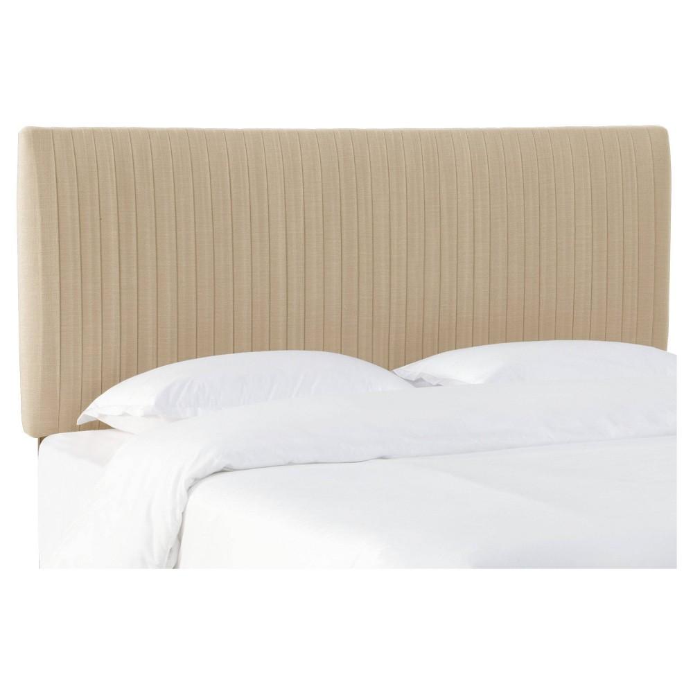 King Skylar Upholstered Pleated Headboard Sandstone Linen Skyline Furniture