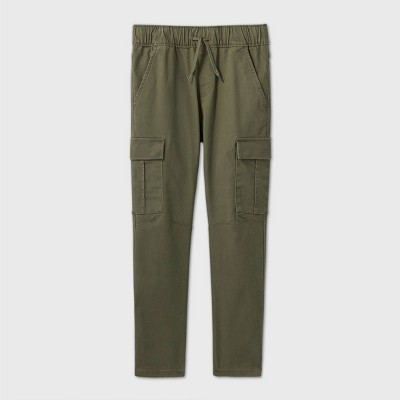 Boys' Stretch Pull-On Cargo Jogger Fit Pants - Cat & Jack™ Olive