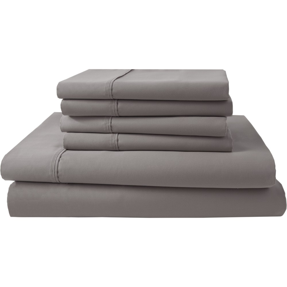 Image of 6pc Park Ridge 1000 Thread Count Sheet Set (California King) Ash (Grey) - Elite Home Products