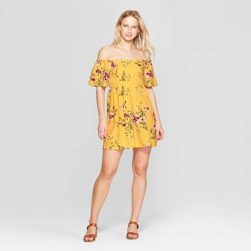 78f5051189 Women s Floral Print Short Sleeve Off the Shoulder Knit Dress - Xhilaration™