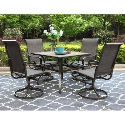 "5pc Patio Set with 37"" Square Umbrella Table & 4 Swivel Chairs - Captiva Designs"