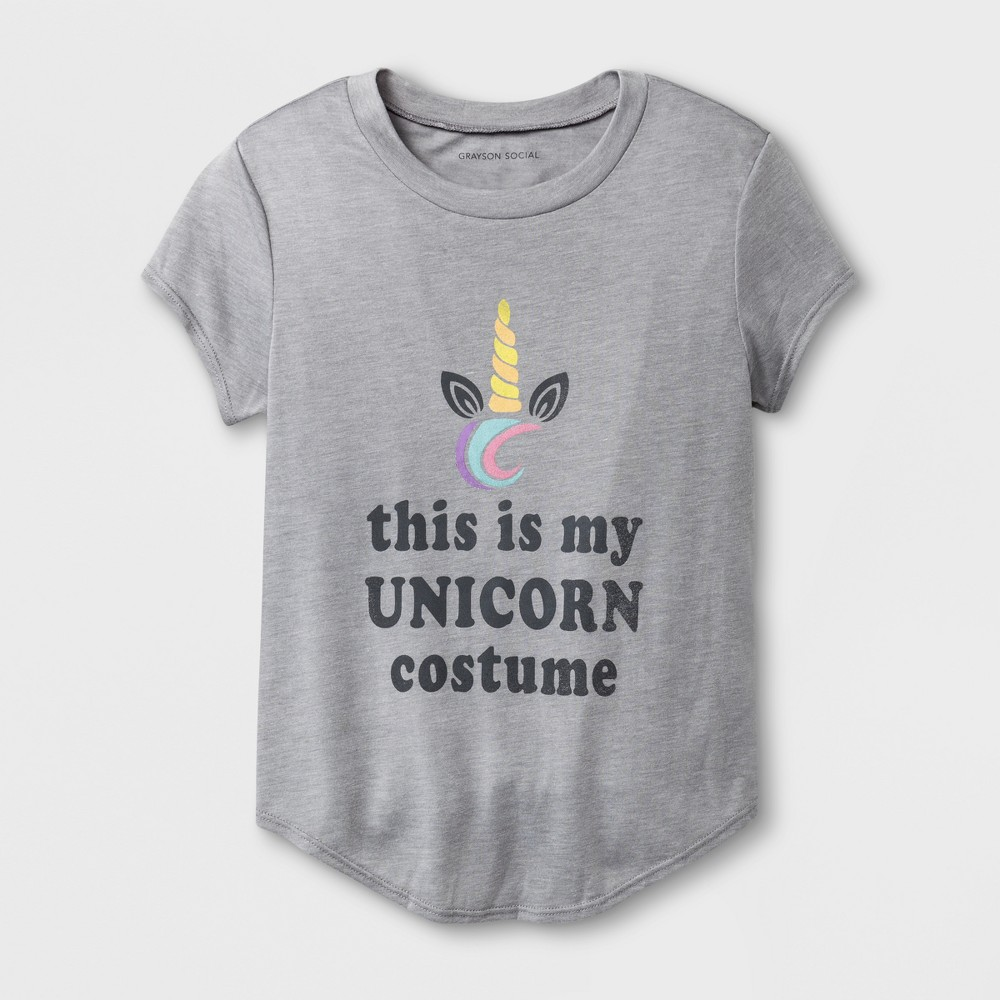 Grayson Social Girls' 'This Is My Unicorn Costume' Graphic Short Sleeve T-Shirt - Athletic Heather L, Gray