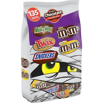 Mars Chocolate Favorites Milky Way Twix Snickers M&Ms And Peanut M&Ms Halloween Variety Bag   69.2oz / 135ct by Mars
