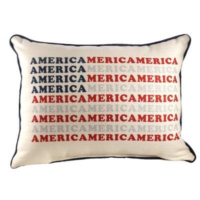"Home Decor 14.0"" America Pattern Flag Pillow Patriotic Lumbar  -  Decorative Pillow"