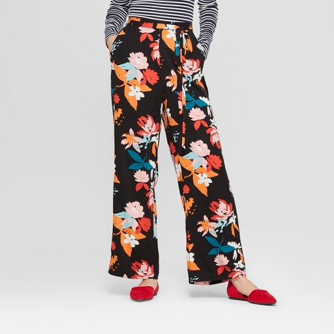 Women's Floral Print Wide Leg Pants - A New Day™ Black/Coral XXL - image 1 of 3