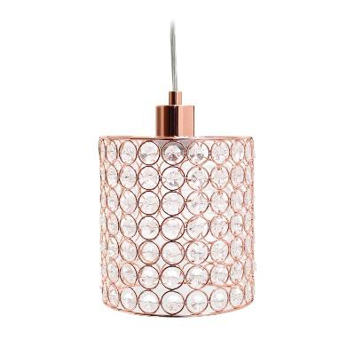 """7.25"""" Elipse Crystal Cylinder Pendant Ceiling Light Rose Gold - Elegant Designs"""